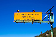 Steep grade warning sign on Wolfe Creek Pass, Rio Grande National Forest, Colorado