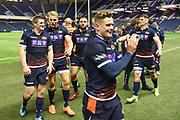 Jubilant Edinburgh players leave the pitch after winning the Guinness Pro 14 2018_19 match between Edinburgh Rugby and Toyota Cheetahs at BT Murrayfield Stadium, Edinburgh, Scotland on 5 October 2018.