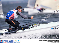 Aarhus, Denmark is hosting the 2018 Hempel Sailing World Championships from 30 July to 12 August 2018. More than 1,400 sailors from 85 nations are racing across ten Olympic sailing disciplines as well as Men's and Women's Kiteboarding. <br /> 40% of Tokyo 2020 Olympic Sailing Competition places will be awarded in Aarhus as well as 12 World Championship medals. ©JESUS RENEDO/SAILING ENERGY/AARHUS 2018<br /> 04 August, 2018.