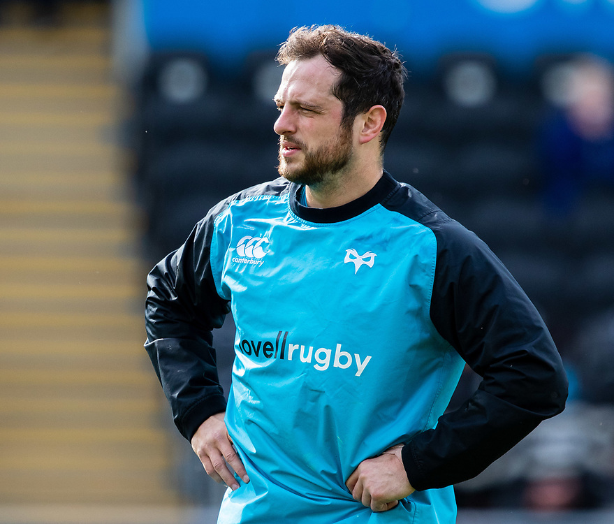 Dan Evans of Ospreys during the pre match warm up<br /> <br /> Photographer Simon King/Replay Images<br /> <br /> Guinness PRO14 Round 18 - Ospreys v Dragons - Saturday 23rd March 2019 - Liberty Stadium - Swansea<br /> <br /> World Copyright © Replay Images . All rights reserved. info@replayimages.co.uk - http://replayimages.co.uk