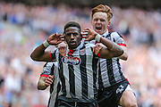 Grimsby Town's Omar Bogle celebrates scoring his teams second goal during the Conference Premier Final match between Forest Green Rovers and Grimsby Town FC at Wembley Stadium, London, England on 15 May 2016. Photo by Shane Healey.