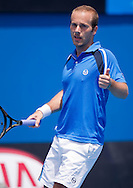 Olivier Rochus (BEL)<br /> 2010 Australian Open Tennis<br /> Mens Singles<br /> First Round<br /> 18/01/10<br /> Olivier Rochus of Belgium could only give thumbs up to Chillian Fernando Gonzalez a Gonzalez slams past another winner<br /> &quot;Show Court 2&quot; Melbourne Park, Melbourne, Victoria, Australia<br /> Photo By Lucas Wroe