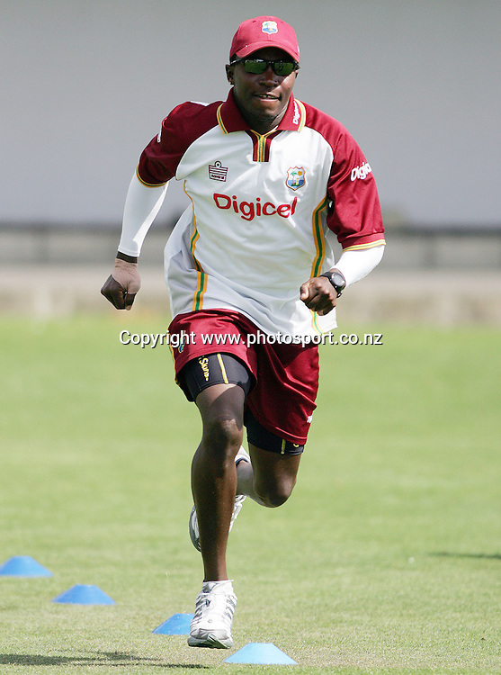 Fidel Edwards during the West Indies training session at Eden Park, Auckland, New Zealand on Monday 6 March, 2006. The West Indies will play their first test match against the Black Caps on Thursday. Photo: Hannah Johnston/PHOTOSPORT<br /><br /><br /><br /><br />148564