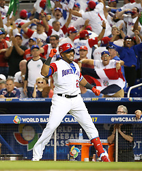 March 11, 2017 - Miami, FL, USA - The Dominican Republic's Nelson Cruz reacts after hitting a three-run home run during the eighth inning against the United States in a World Baseball Classic first round Pool C game at Marlins Park in Miami on Saturday, March 11, 2017. The Dominican Republic won, 7-5. (Credit Image: © David Santiago/TNS via ZUMA Wire)