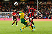 Diego Rico (21) of AFC Bournemouth chips the ball past Emi Buendia (17) of Norwich City during the Premier League match between Bournemouth and Norwich City at the Vitality Stadium, Bournemouth, England on 19 October 2019.