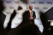 Republican presidential candidate Dr. Ben Carson is greeted by applauds before speaking at the Heritage Foundation Take Back America candidate forum September 18, 2015 in Greenville, South Carolina. The event features 11 presidential candidates but Trump unexpectedly cancelled at the last minute.