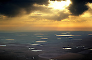 Playa Lakes in early morning<br /> Aerial<br /> Texas Panhandle,