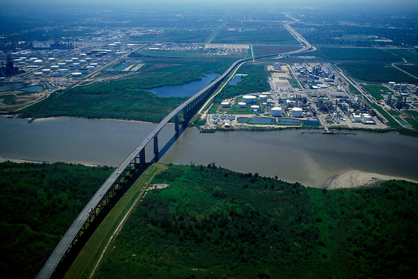 Stock photo of the aerial view of a bridge crossing the Houston ship channel