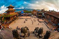 Taumadhi Square, Bhaktapur, Nepal seen from the Nyatapola Pagoda. (Bhairav Temple is on left)