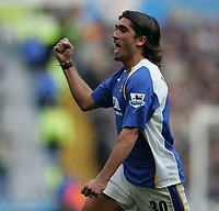 Photo: Lee Earle.<br /> Portsmouth v Manchester City. The Barclays Premiership. 11/03/2006. Pompey's Pedro Mendes celebrates after scoring the opening goal.