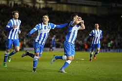 Sam Baldock ( R ) of Brighton and Hove Albion celebrates with Anthony Knockaert after he scores to make it 2-0 - Mandatory byline: Paul Terry/JMP - 29/02/2016 - FOOTBALL - Falmer Stadium - Brighton, England - Brighton v Leeds United - Sky Bet Championship