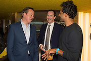 DAVID CAMERON, ; GEOFFREY OSBORNE,  ROHAN SILVA,  Launch of ' More Human',  Designing a World Where People Come First' by Steve Hilton. Party held at Second Home in Princelet St, off Brick Lane, London. 19 May 2015.