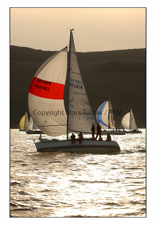 The start of the Bell Lawrie Yachting Series from Gourock overnight to Tarbert Loch Fyne...Antix, GBR 581R an X302 from Whitby..