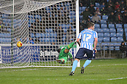 Coventry City defender Chris Stokes scores for Coventry City during the Sky Bet League 1 match between Coventry City and Walsall at the Ricoh Arena, Coventry, England on 12 January 2016. Photo by Simon Davies.