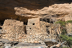 Abandoned village of As Sab on the Balcony Walk hiking trail along Wadi Nakhr canyon at Jebel Shams in Oman Middle East