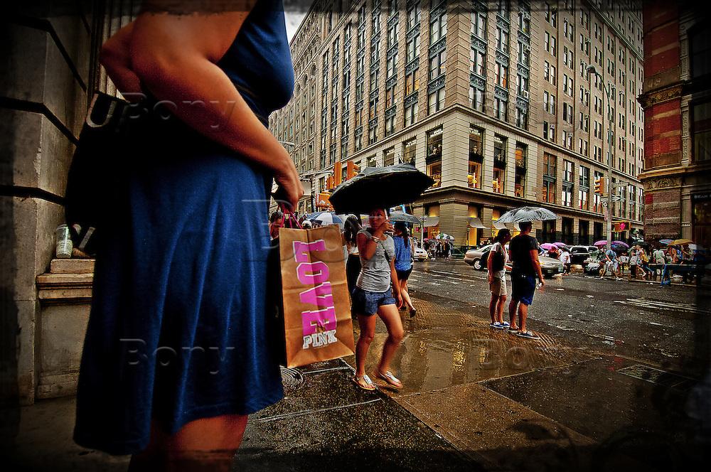 New-York City, Rainy day... Broadway, near Mercer Street.