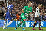Valencia goalkeeper Neto (13), Chelsea forward Tammy Abraham (9), during the Champions League match between Chelsea and Valencia CF at Stamford Bridge, London, England on 17 September 2019.