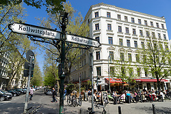 Afternoon view of restaurants and cafes  on Kollwitzplatz in Prenzlauer Berg in Berlin Germany