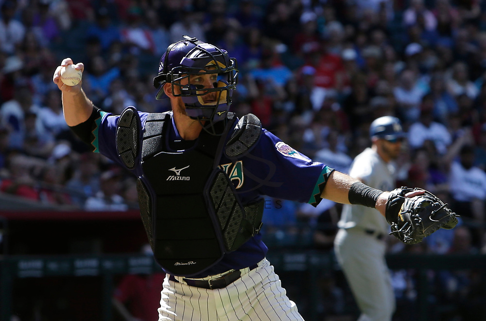 Arizona Diamondbacks catcher Jeff Mathis (2) in the first inning during a baseball game against the Los Angeles Dodgers, Thursday, May 3, 2018, in Phoenix. (AP Photo/Rick Scuteri)