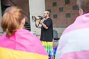 OHIO Students, faculty and staff gather to celebrate National Coming Out Day Speak OUt Rally, hosted by the LGBT Center, on College Green. Photo by Ben Siegel
