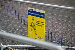 Warnings to the media to protect their equipment at the London Wing at St Mary's Hospital in Paddington, London, where the Duchess of Cambridge is expected within the next few weeks for the birth of her third child.. London, April 10 2018.