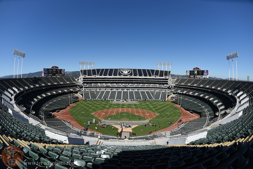 August 15, 2014; Oakland, CA, USA; General view of O.co Coliseum before the match between the Detroit Lions and the Oakland Raiders. O.co Coliseum is the final multi-purpose stadium left to serve as a full-time home to both a Major League Baseball team (the Oakland Athletics) and a National Football League team (the Raiders) in the United States.