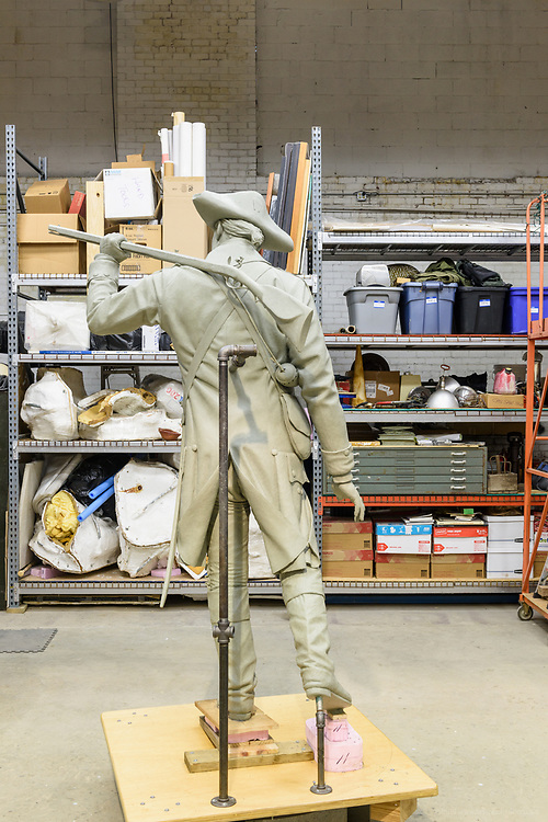 Sculptor Matthew Weir documents progress on Col. Will Oldham and J.D. Nichols statues Wednesday, March 14, 2018, at his studio in Louisville, Ky. (Photo by Brian Bohannon)