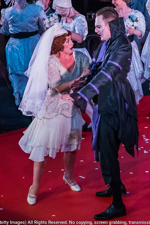 Matinee performance of Ruddigore performed by during the National Gilbert &amp; Sullivan Opera Company in Buxton Opera House Buxton, England on Wednesday 01 August 2018 Photo: Jane Stokes<br /> <br /> DIRECTOR/Vivian Coates<br /> CONDUCTOR/James Hendry<br /> CHOREOGRAPHER/Mary McDonagh<br /> <br /> CAST<br /> SIR RUTHVEN MURGATROYD (Robin Oakapple)/Bradley Travis<br /> RICHARD DAUNTLESS/David Menezes<br /> SIR DESPARD MURGATROYD/Matthew Siveter<br /> OLD ADAM GOODHEART/Stephen Godward<br /> ROSE MAYBUD/Rosanna Harris<br /> MAD MARGARET/Mae Hendorn<br /> DAME HANNAH/Gaynor Keeble<br /> ZORAH/Juliet Montgomery<br /> RUTH/Alexandra Hazard<br /> SIR RODERIC MURGATROYD/Steven Page<br /> <br /> THE CHORUS<br /> Hannah Boxall, Nicole Boardman, Rhiannon Doogan, Joanna Goldspink, Maisy Hepburn, Jennifer Parker, Julie Power, Stephanie Poropat, Eloise Waterhouse, Emma Watkinson<br /> <br /> Tom Blackwell, Andrew Brown, Peter Brooks, Stephen Fawell, Matthew Kellett, Michael Vincent Jones, Henry Smith, Jonathan Stevens, Tim Southgate<br /> <br /> PRODUCTION TEAM<br /> <br /> TOUR MANAGER/Neil Smith<br /> STAGE MANAGER/Sarah Kent<br /> ASSISTANT STAGE MANAGER/Claire Litton<br /> LIGHTING DESIGN/David Marsden<br /> WARDROBE SUPERVISOR/ David Morgan<br /> SET DESIGN/ Tin Shed Scenery<br /> REPETITEUR/Erica Gundesen