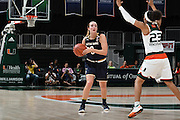 January 8, 2017: Marina Mabrey #3 of Notre Dame in action during the NCAA basketball game between the Miami Hurricanes and the Notre Dame Fighting Irish in Coral Gables, Florida. The 'Irish defeated the 'Canes 67-55.