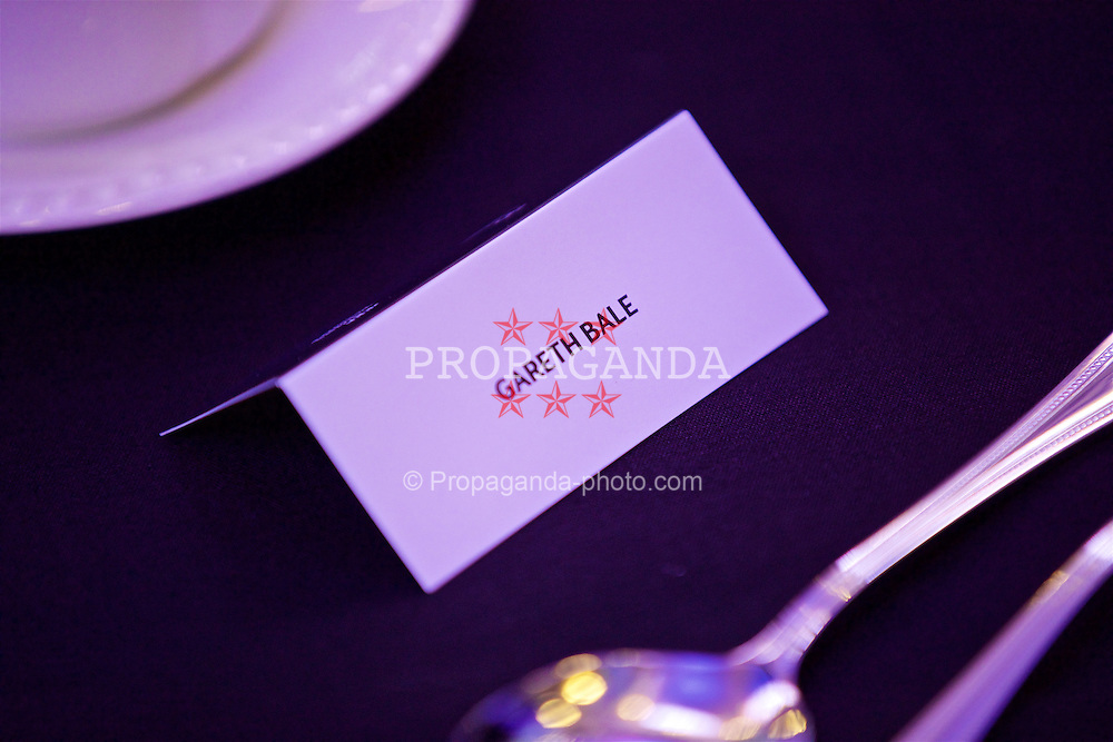CARDIFF, WALES - Wednesday, August 31, 2016: Wales' Gareth Bale's name tag during a gala dinner at the Cardiff Museum to launch the UEFA Champions League Finals 2017 to be held in Cardiff. (Pic by David Rawcliffe/Propaganda)