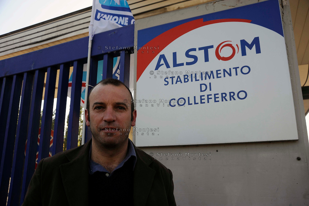 Colleferro.L'ingresso della fabbrica Alstom  gruppo industriale francese di costruzioni meccaniche settore l'ingegneria ferroviaria..Alstom  is a large French multinational conglomerate which holds interests in the power generation and transport markets.
