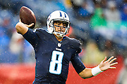 NASHVILLE, TN - NOVEMBER 29:  Marcus Mariota #8 of the Tennessee Titans throws a pass during a game against the Oakland Raiders at Nissan Stadium on November 29, 2015 in Nashville, Tennessee.  The Raiders defeated the Titans 24-21.  (Photo by Wesley Hitt/Getty Images) *** Local Caption *** Marcus Mariota