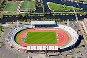 Nederland, Noord-Holland, Amsterdam, 09-04-2014; Stadionbuurt,  Stadionplein met Olympisch Stadion. Water van de Schinkel en IJsbaanpad in achtergrond.<br /> Olympic stadion (build 1926).<br /> luchtfoto (toeslag op standard tarieven);<br /> aerial photo (additional fee required);<br /> copyright foto/photo Siebe Swart