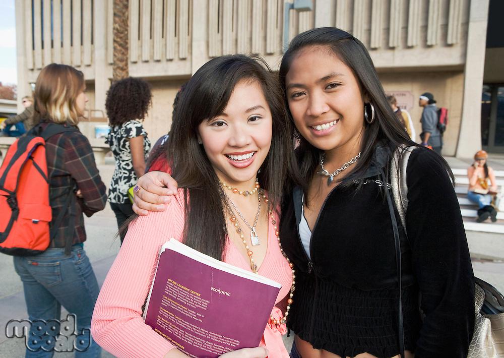 Friends Standing Outside School Building