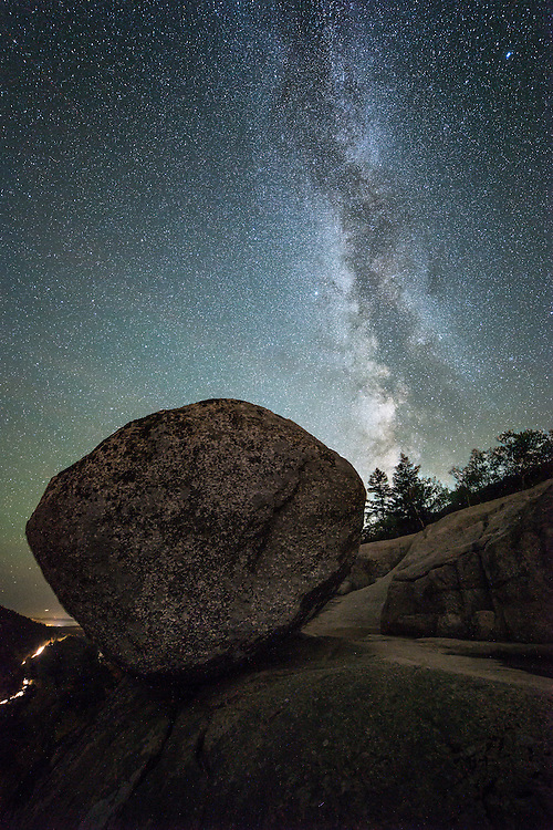 Milky Way rising over Bubble Rock in Acadia National Park.