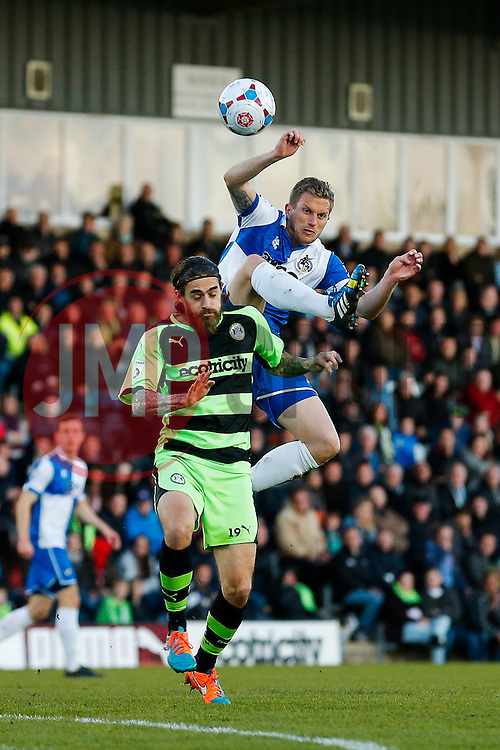Lee Mansell of Bristol Rovers is challenged by Rob Sinclair of Forest Green Rovers - Photo mandatory by-line: Rogan Thomson/JMP - 07966 386802 - 29/04/2015 - SPORT - FOOTBALL - Nailsworth, England - The New Lawn - Forest Green Rovers v Bristol Rovers - Vanarama Conference Premier - Playoff Semi Final 1st Leg.