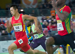 Xie Zhenye(1st, L) of China competes during the men's 60 meters semi-final at the 2016 IAAF World Indoor Athletics Championships at the Oregon Convention Center in Portland, the United States, on March 18, 2016. EXPA Pictures © 2016, PhotoCredit: EXPA/ Photoshot/ Yang Lei from Chongqing<br /> <br /> *****ATTENTION - for AUT, SLO, CRO, SRB, BIH, MAZ, SUI only*****