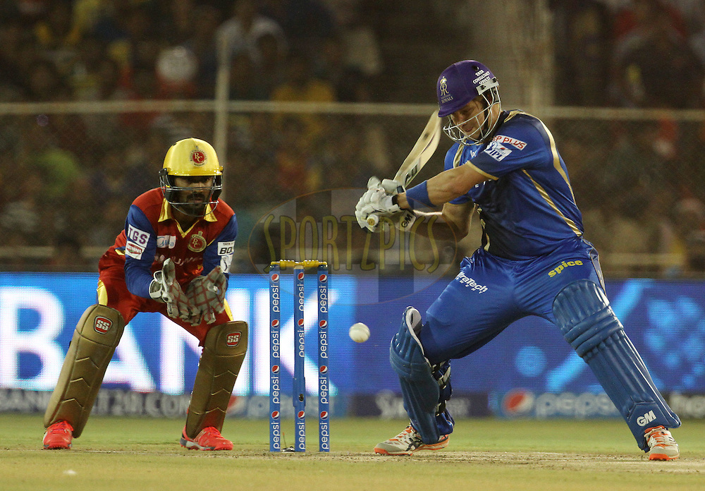 Rajasthan Royals captain Shane Watson plays a shot during match 22 of the Pepsi IPL 2015 (Indian Premier League) between The Rajasthan Royals and The Royal Challengers Bangalore held at the Sardar Patel Stadium in Ahmedabad , India on the 24th April 2015.<br /> <br /> Photo by:  Vipin Pawar / SPORTZPICS / IPL