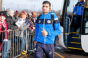 Forest Green Rovers forward Omar Bugiel (11)  arrives during the EFL Sky Bet League 2 match between Lincoln City and Forest Green Rovers at Sincil Bank, Lincoln, United Kingdom on 30 December 2017. Photo by Simon Davies.