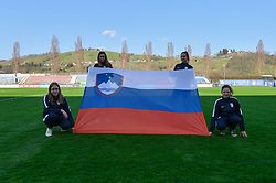 Flag of Slovenia during women football match between National teams of Slovenia and Iceland in 2019 FIFA Women's World Cup qualification, on April 06, 2018 in Sportni park Lendava, Lendava, Slovenia. Photo by Mario Horvat / Sportida