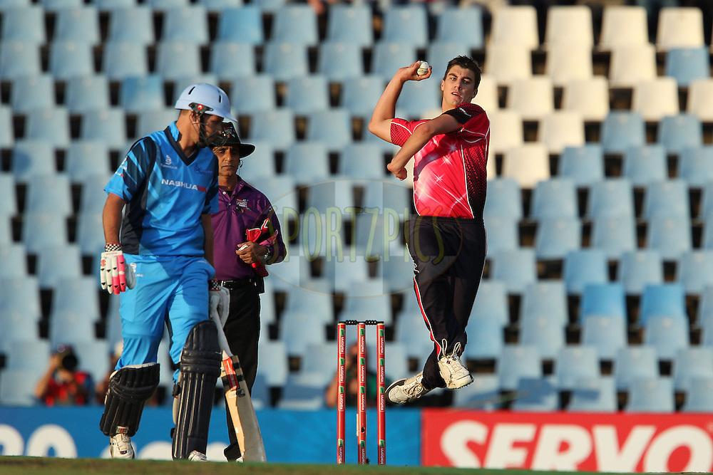 Pat Cummins of the Sydney Sixers bowls during the 2nd semi final of the Karbonn Smart CLT20 South Africa between The Sydney SIxers and the The Titans held at Supersport Park in Centurion, Gauteng on the 26th October 2012..Photo by Ron Gaunt/SPORTZPICS/CLT20.