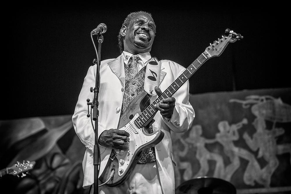 Guitar Slim Jr. performing in the Blues Tent during the 2013 New Orleans Jazz & Heritage Music Festival on April 26, 2013 in New Orleans, Louisiana. USA.
