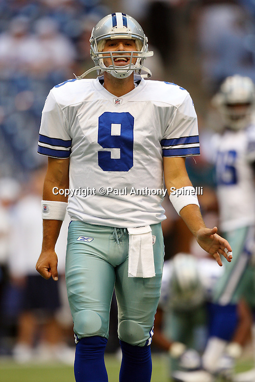 IRVING, TX - SEPTEMBER 15:  Quarterback Tony Romo #9 of the Dallas Cowboys yells toward the sidelines during the game against the Philadelphia Eagles at Texas Stadium on September 15, 2008 in Irving, Texas. The Cowboys defeated the Eagles 41-37. ©Paul Anthony Spinelli *** Local Caption *** Tony Romo