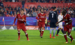 SEVILLE, SPAIN - Tuesday, November 21, 2017: Liverpool's Roberto Firmino celebrates scoring the third goal during the UEFA Champions League Group E match between Sevilla FC and Liverpool FC at the Estadio Ramón Sánchez Pizjuán. (Pic by David Rawcliffe/Propaganda)