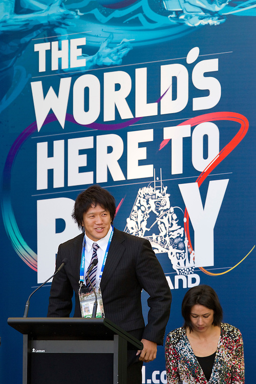 Captain Takashi Kikutani speaks on behalf of the Japanese Rugby Team at the first Rugby World Cup official welcome ceremony, Aotea Square, Auckland, New Zealand, Thursday, September 01, 2011.  Credit:SNPA / David Rowland
