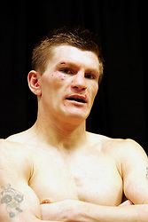 A devastated Ricky Hatton in the changing room after his tenth round knockout defeat to Floyd Mayweather. MGM Grand, Las Vegas, 8th December 2007.