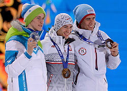 10-02-2014 ALGEMEEN: OLYMPIC GAMES MEDAILLE CEREMONIE: SOTSJI<br /> Ceremony Medal Plaza / Silver medal Peter Prevc SLO on Ski Jumping, gold for kamil Stoch POL and bronze Anders Bardal NOR<br /> ©2014-FotoHoogendoorn.nl<br />  / Sportida