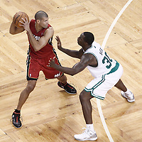 07 June 2012: Boston Celtics power forward Brandon Bass (30) defends on Miami Heat small forward Shane Battier (31) during first half of Game 6 of the Eastern Conference Finals playoff series, Heat at Celtics at the TD Banknorth Garden, Boston, Massachusetts, USA.