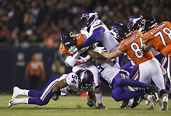 November 18, 2018 - Chicago, IL, U.S.A - Vikings defensive end Danielle Hunter (99), defensive tackle Tom Johnson (96), and middle linebacker Eric Kendricks (54) wrapped up Bears running back Jordan Howard (24) on a second quarter run.  ]  JEFF WHEELER • jeff.wheeler@startribune.com ....The Minnesota Vikings faced the Chicago Bears in a Sunday Night Football game on November 18, 2018 at Soldier Field in Chicago. (Credit Image: © Jeff Wheeler/Minneapolis Star Tribune via ZUMA Wire)