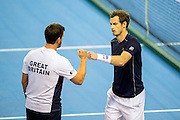 Andy Murray of Great Britain and Leon Smith, team captain of Great Britain celebrate winning the second set (1-1) during the Davis Cup Semi Final between Great Britain and Argentina at the Emirates Arena, Glasgow, United Kingdom on 16 September 2016. Photo by Craig Doyle.